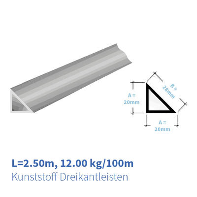 Kunststoff Dreikantleisten 20x20 mm