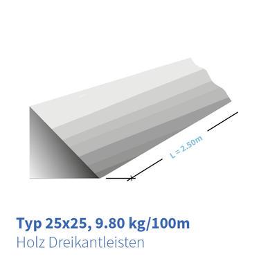 Holz-Dreikantleisten Typ 25x25