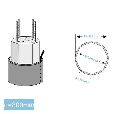 Rapidobat-Schalrohre Achteck d= 800 mm
