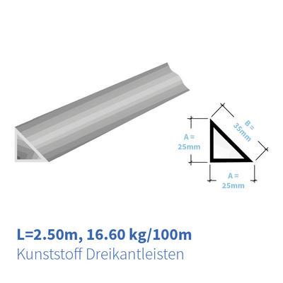 Kunststoff Dreikantleisten 25x25 mm
