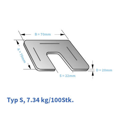 Kunststoff-Unterlagsplatten  Typ S