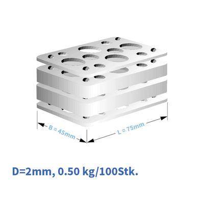 Kunststoff-Distanzplatten  45x75x02 mm