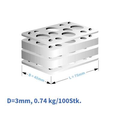 Kunststoff-Distanzplatten  45x75x03 mm
