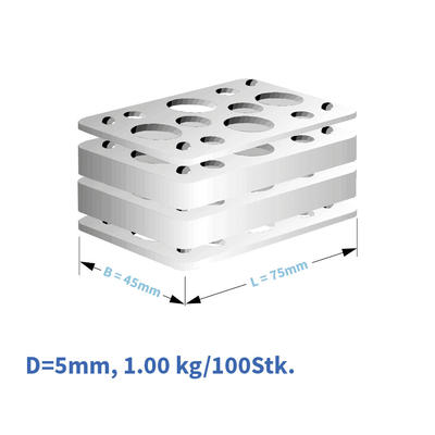 Kunststoff-Distanzplatten  45x75x05 mm