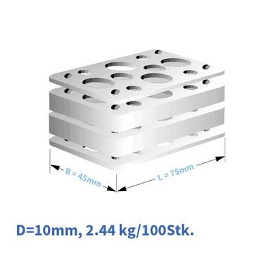 Kunststoff-Distanzplatten  45x75x10 mm