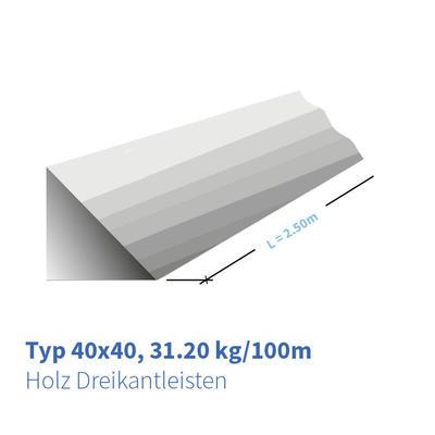 Holz-Dreikantleisten Typ 40x40